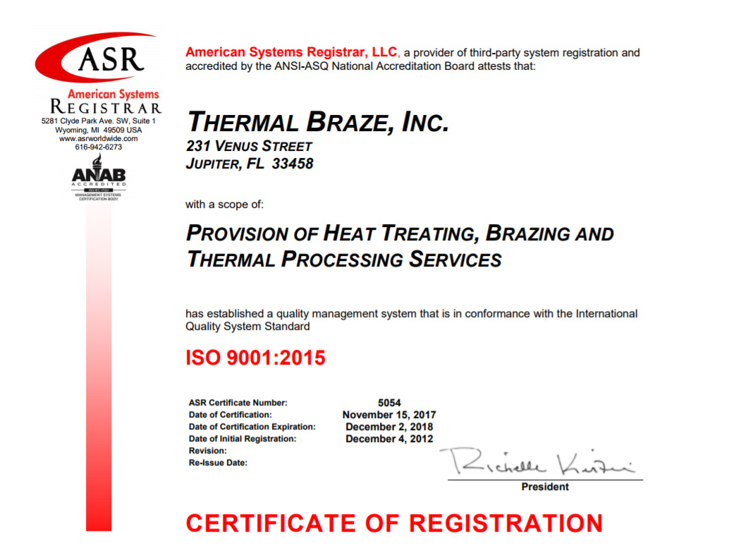 Certifications Thermal Braze